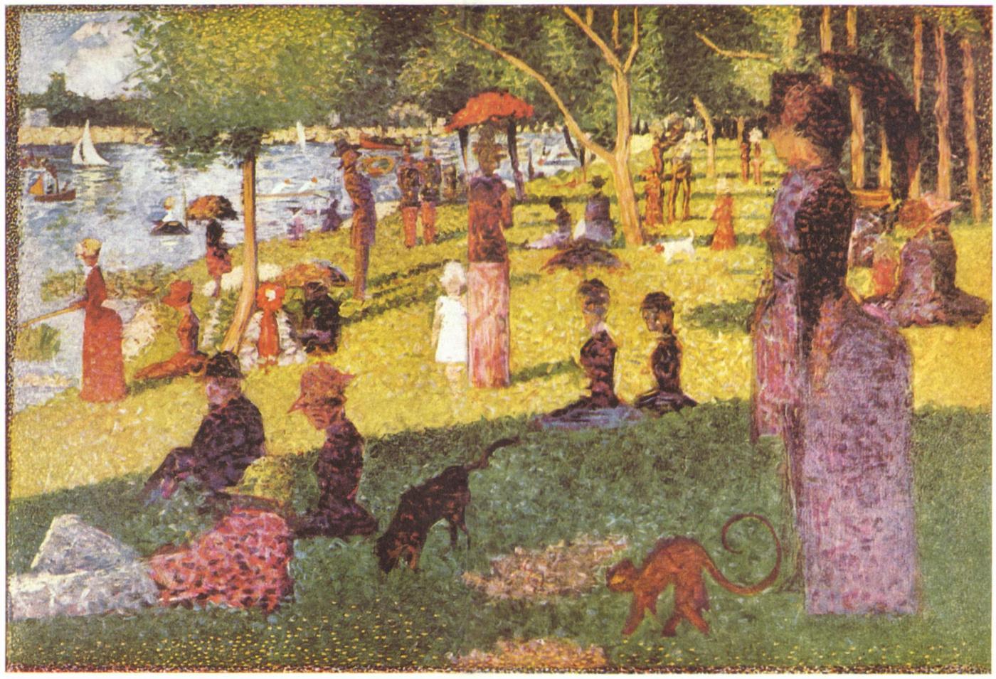 Жорж-Пьер Сёра. Эскиз к Воскресному вечеру на острове Гранд-Жатт.  1885