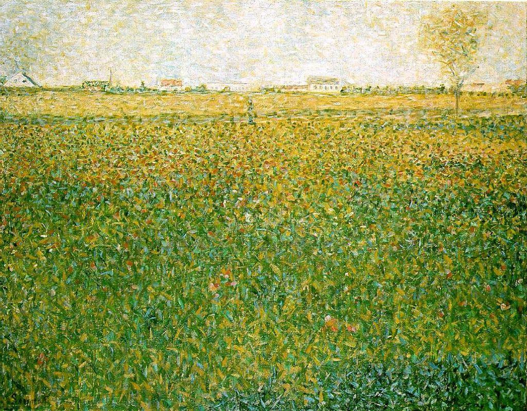 Жорж-Пьер Сёра. Поля люцерны, Сен-Дени. 1886