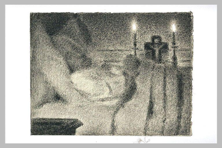 Жорж-Пьер Сёра. Анаис Февр Омонте на смертном одре. 1887