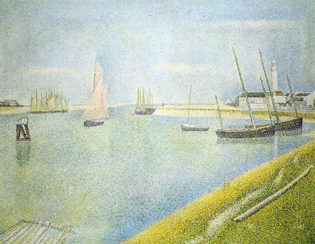 Жорж-Пьер Сёра. Канал на Гравелине, в направлении к морю. 1890