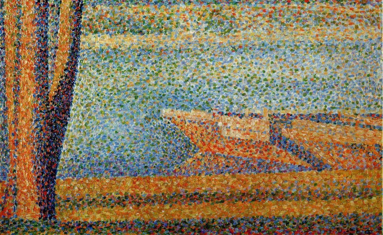 Жорж-Пьер Сёра. Дерево и лодка. 1890