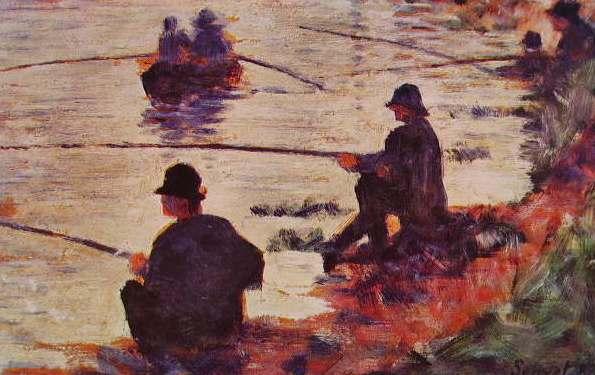 Жорж-Пьер Сёра. Рыбалка на Сене, 1883