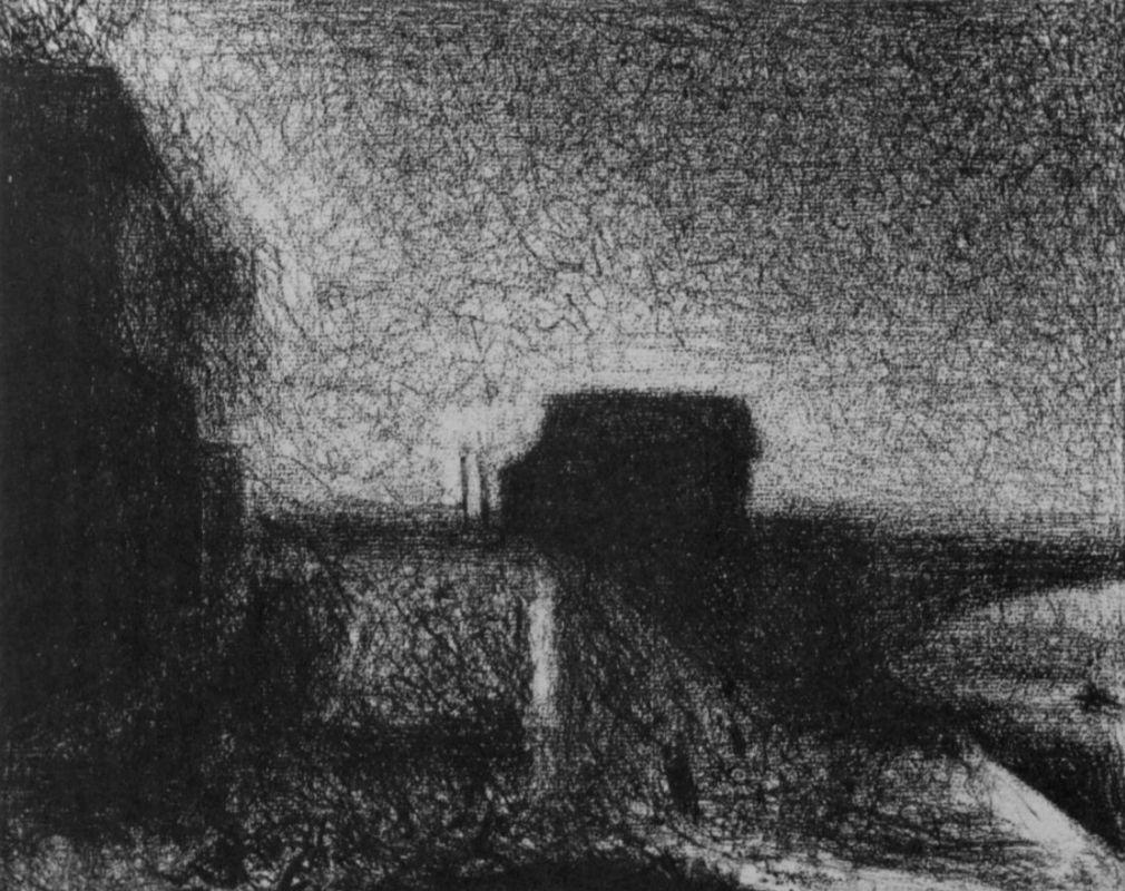 Жорж-Пьер Сёра. Опора моста в Курбевуа. 1886