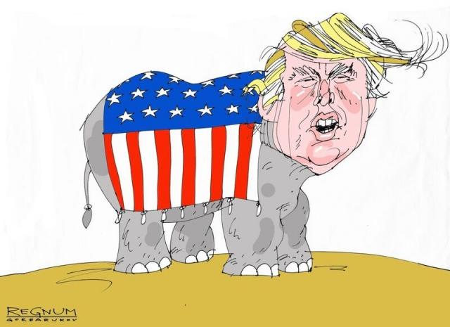 Американский слон замер в закавказской посудной лавке