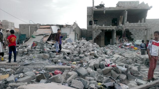 Последствия бомбардировки авиацией Саудовской Аравии, Саны. Йемен. 2015
