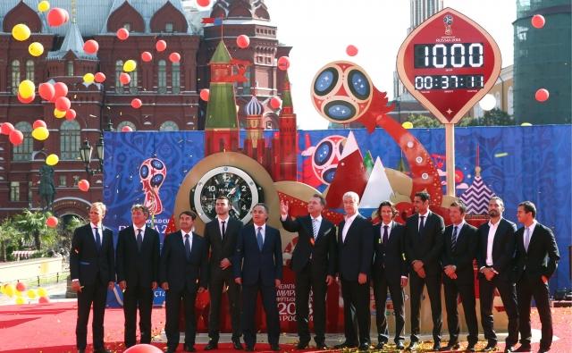 Церемония запуска обратного отсчёта 1000 дней до чемпионата мира по футболу в России. Москва, Красная площадь, 18 сентября 2015 года