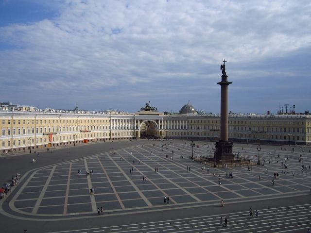 Вид из Эрмитажа. Дворцовая площадь Санкт-Петербурга