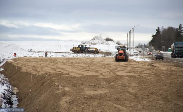 Ход строительства Северного обхода города Пскова 05.12.2017