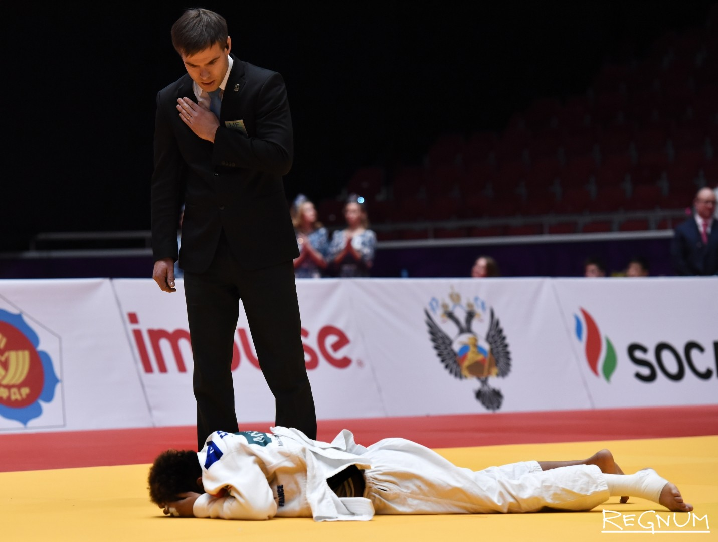 Международный турнир по дзюдо «Мастерс-2017». Дзюдоистка Бучард А. (Франция, белый) после поражения в финале
