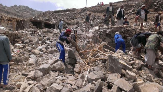 Уничтоженная деревня в Йемене