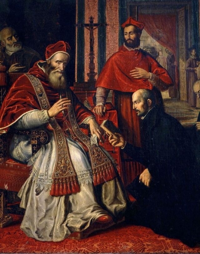 Игнатий Лойола вручает папе Павлу III устав Ордена иезуитов
