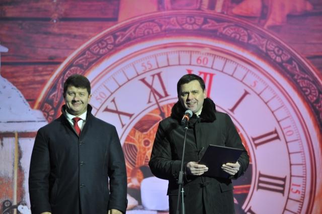 Дмитрий Миронов и Владимир Слепцов на открытии ярмарки 2016 года