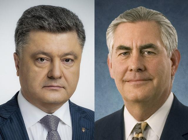 Порошенко пожаловался Тиллерсону на обстрелы «российских боевиков»