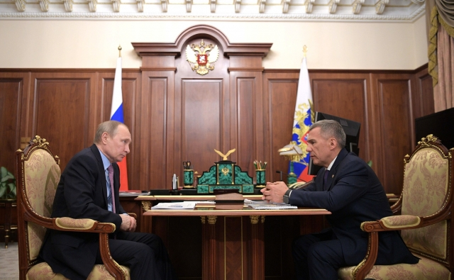 Встреча Владимира Путина  с главой Татарстана Рустамом Миннихановым