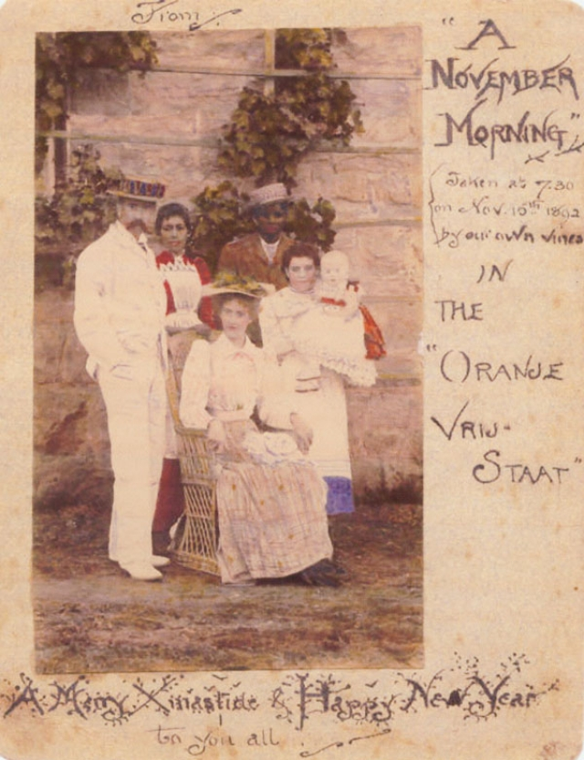 Рождественская открытка с цветной фотографией семьи Толкин в Блумфонтейне, отправленная родственникам в Бирмингеме. Англия. 1892 г