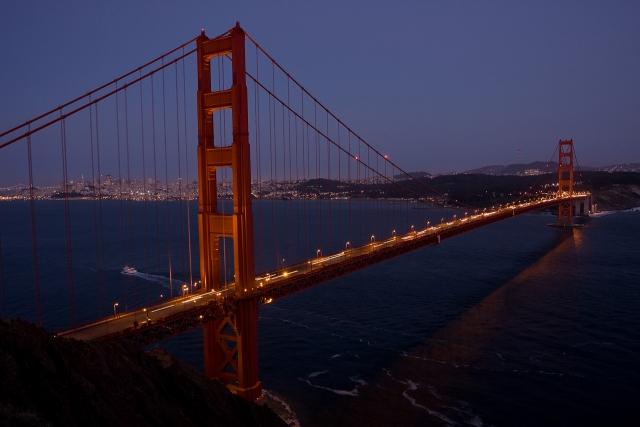 Мост Золотые Ворота в сумерках