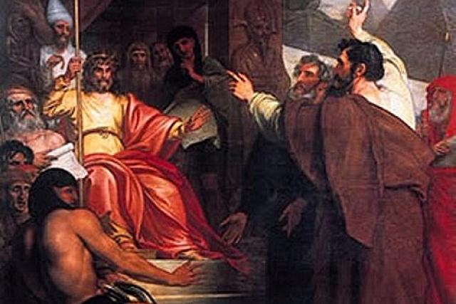 Бенджамин Уэст. Моисей и Аарон перед фараоном (фрагмент)