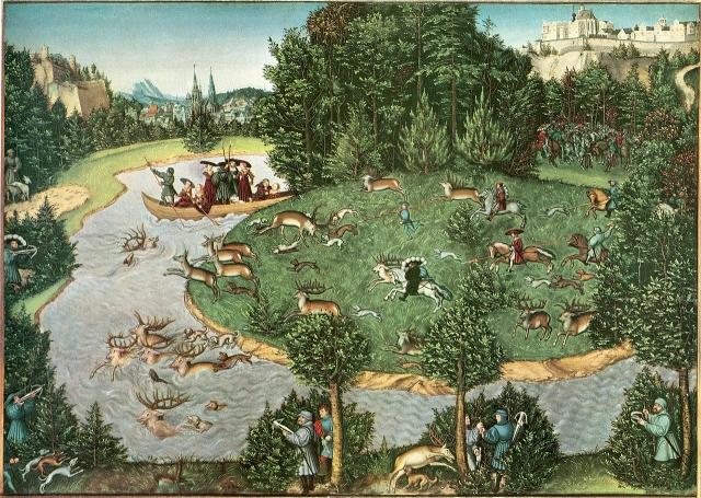Охота на оленя. Лукас Кранах Старший. 1529 год
