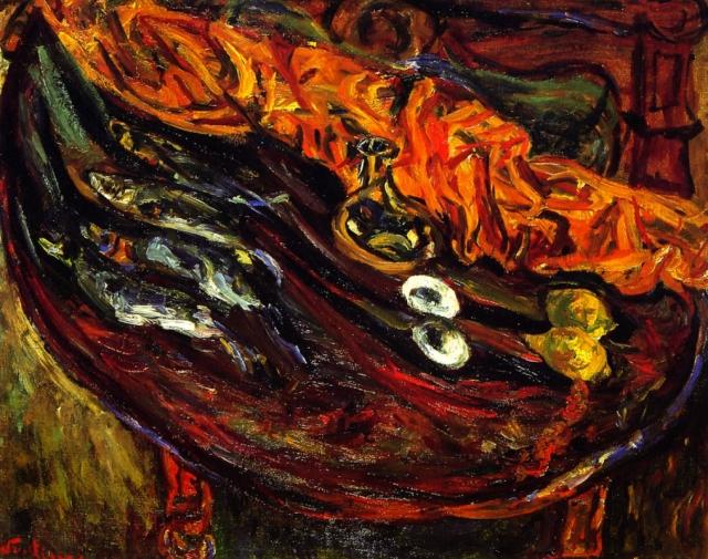 Хаим Сутин. Натюрморт с рыбой, яйцами и лимонами. 1924