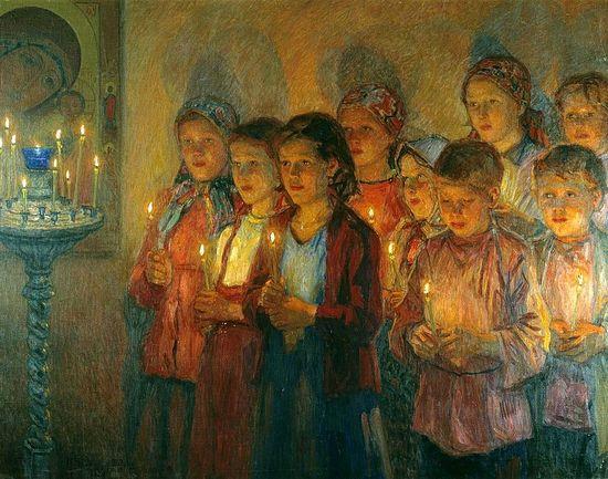 В церкви, Н.П. Богданов-Бельский., 1939