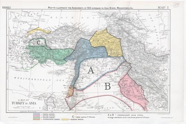 Соглашение Сайкса-Пико. Оригинал карты. 1916 год