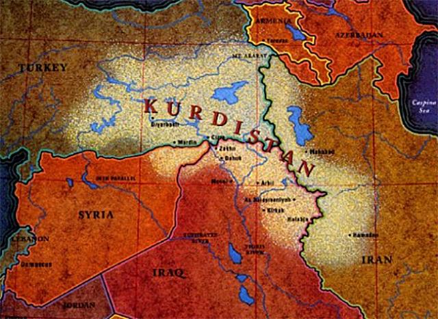 Курдистан на карте