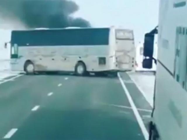 Трасса Самара — Шымкент в Казахстане, где загорелся пассажирский автобус