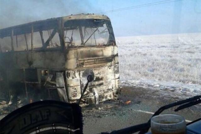 Сгоревший в Казахстане автобус
