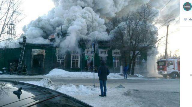 Барнаул. Пожар в бывшей конторе купца Морозова