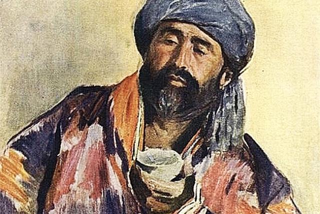 Павел Беньков. Таджик с пиалой (фрагмент). 1928
