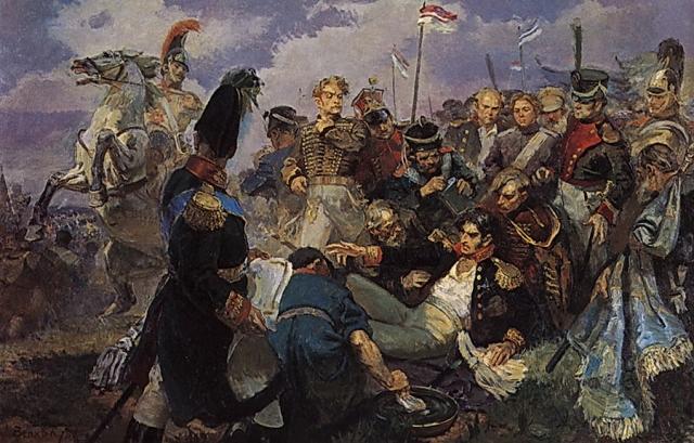 Алексей Иванович Вепхвадзе. Смертельное ранение Багратиона на Бородинском поле 26 августа 1812 года. 1948
