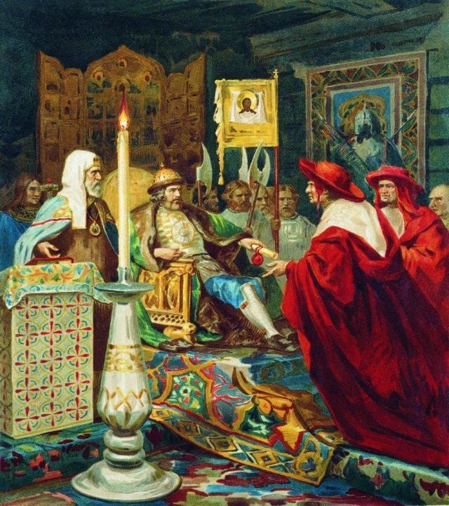 Генрих Семирадский. Князь Александр Невский принимает папских легатов. 1876