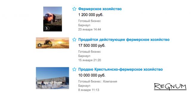 Объявления о продаже алтайских фермерских хозяйств на Avito. Цитата с сайта www.avito.ru