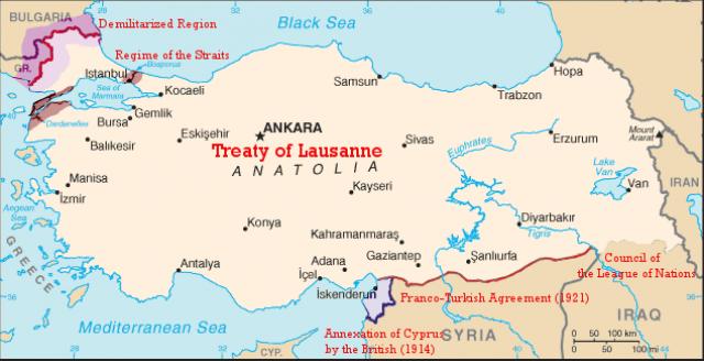 Границы Турции по Лозаннскому мирному договору