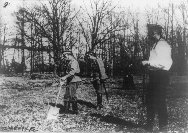 Николай II принимает участие в садовых работах