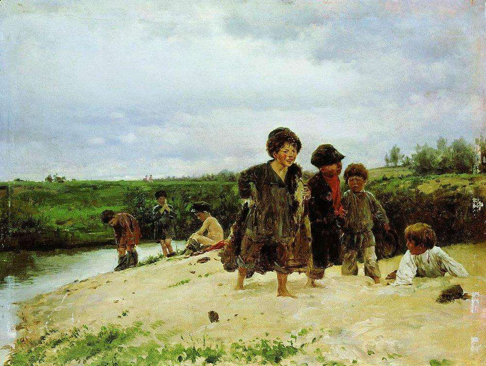 Владимир Маковский. От дождя. 1887