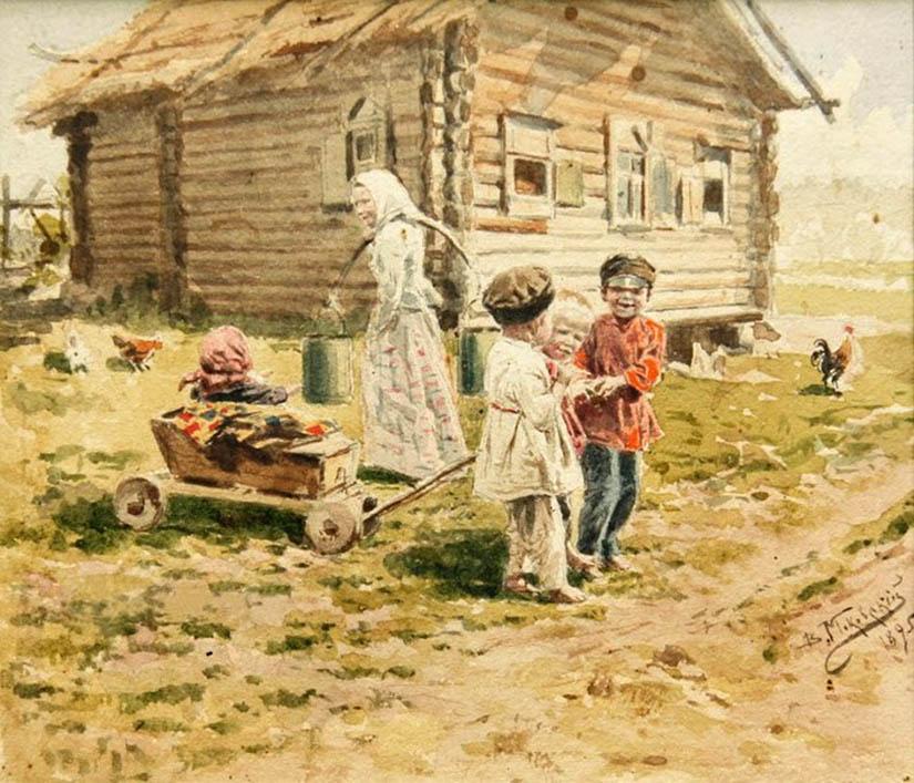 Владимир Маковский. Утро во дворе. Дети