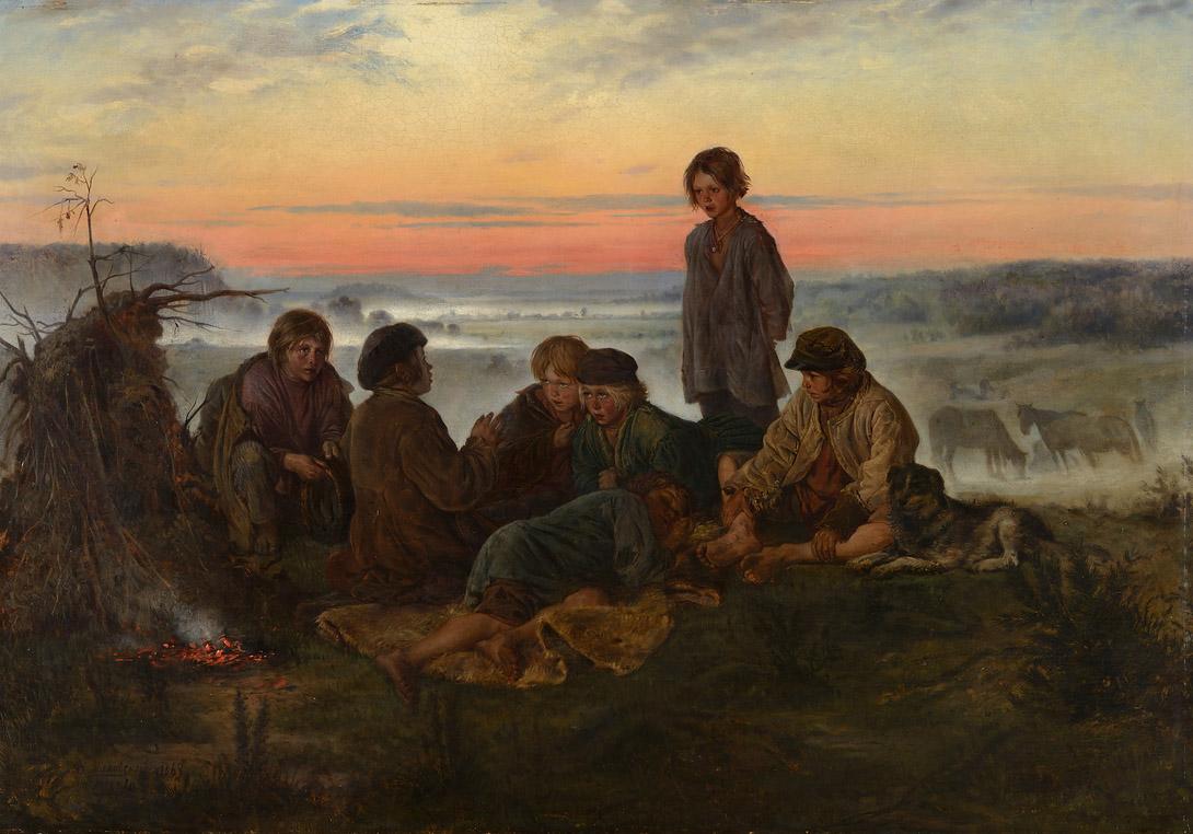 Владимир Маковский. Крестьянские мальчики в ночном стерегут лошадей. 1869