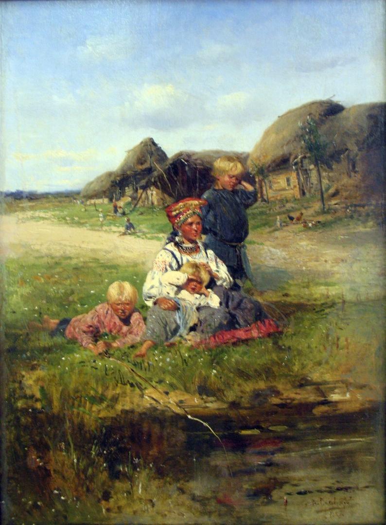 Владимир Маковский. Крестьянка с детьми. 1893