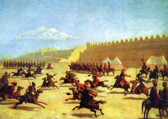 Гагарин Григорий Григорьевич. Джигитовка курдов и татар перед крепостью Сардар-Аббат в Армении