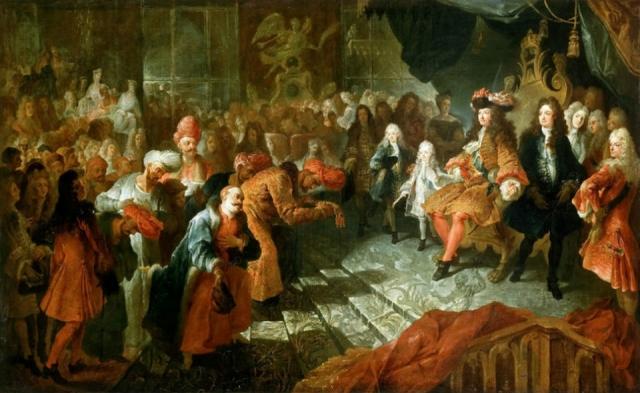 Антуан Куапель. Людовик XIV принимает персидского посла в зеркальном зале Версаля 19 февраля 1715 года