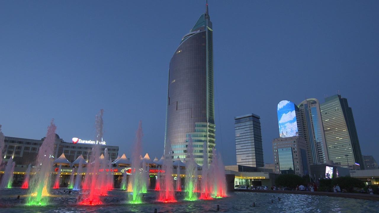 Алматы ночью. Казахстан