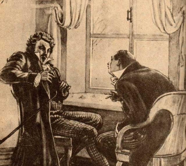 Н.В.Гоголь. Мертвые души. Чичиков у Манилова. Художник А. Лаптев. 1951