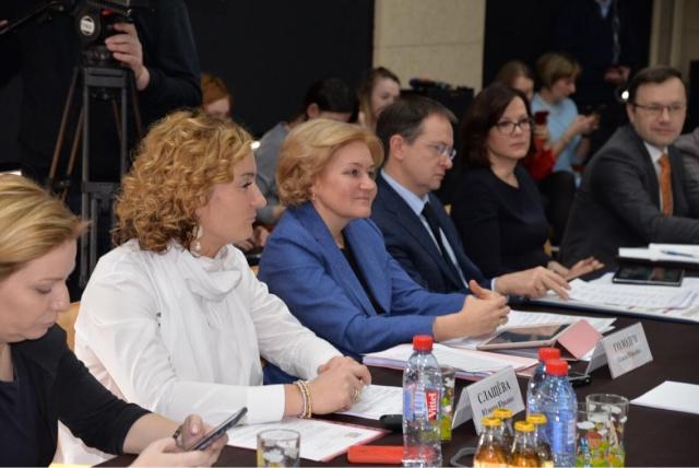 Юлия Слащева, Ольга Голодец и Владимир Мединский