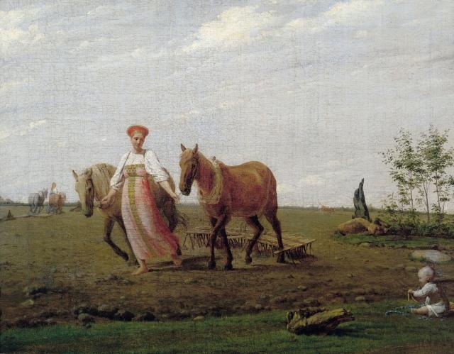 Алексей Венецианов. На пашне. Весна. Середина 1820-х