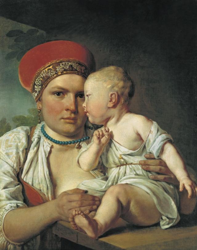 Венецианов Алексей. Кормилица с ребенком. Начало 1830-х