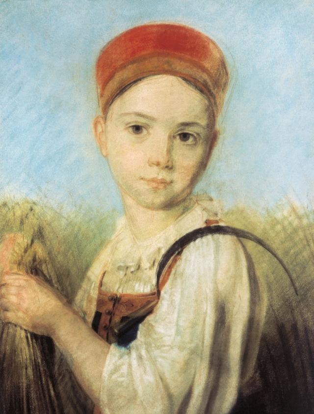 Алексей Венецианов. Крестьянская девушка с серпом во ржи