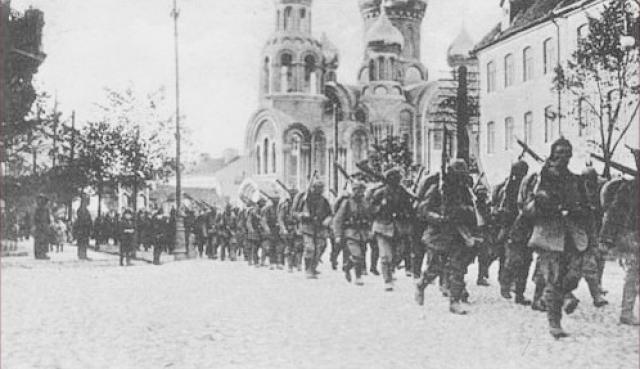Германские войская входят в Вильнюс. 1915