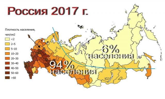 Демографическая карта России на 2017 год