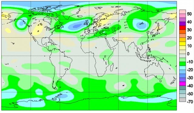 Рис. 7. Карта отклонений от нормы общего содержания озона в атмосфере 22 декабря 2004 г